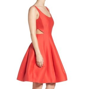 Halston Heritage Cut Out Fit Flare Dress Poppy 0